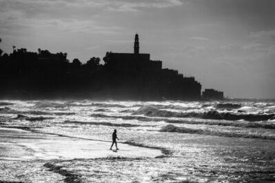 Ziv Koren, 'Jaffa, Israel Dec. 2012 - Israeli man walks into the sea on a winter day, near the Old City of Jaffa.', 2012