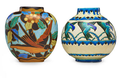 Charles Catteau, 'Two Art Deco Keramis vases with stylized birds'