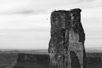 Krystle Wright, 'Freefall, Michael Tomchek Leaps off Castleton Tower (400ft) as Fellow BASE Jumpers Look On, Castle Valley, Utah', 2014