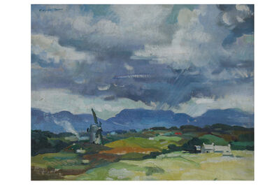 FRANCIS WYNNE THOMAS, 'Windmill on Angelsea with Snowdon in the distance'