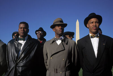 "David Alan Harvey, '""Million Man March."" Members of the Nation of Islam on the mall. Washington DC, USA.', 1995"