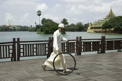 Moe Satt, 'Bicycle Tire Rolling Event from Yangon: Kan Daw Gyi Park', 2013