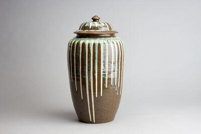 Onda Yaki, 'Elongated Jar with Green and White Drip Glaze', n/a