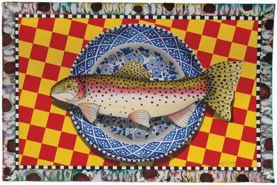David Wharton, 'Blue Plate Series: Still life rainbow trout'