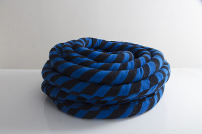 Greg Chait, 'Unique coil sculpture in blue and black cashmere, kapok fiber filling', 2016