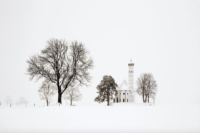 Christophe Jacrot, 'Trees and church (Bavaria), Blizzard 2', 2017