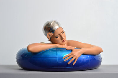 Carole A. Feuerman, 'Miniature Serena w/ Palladium Leaf Cap & Candy Blue Tube', 2019