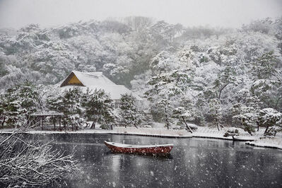 Steve McCurry, 'Boat Covered in Snow in Sankei-en Gardens, Yokohama, Japan', 2014