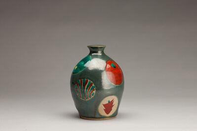 Tomoo Hamada, 'Vase, blue glaze with akae decoration'