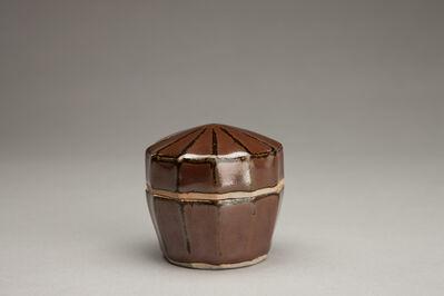 Shinsaku Hamada, 'Fluted incense container, kaki glaze'