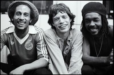 Michael Putland, 'Bob Marley, Mick Jagger, Peter  Tosh, backstage after The Rolling  Stones concert, Palladium Theatre,  New York', 1978