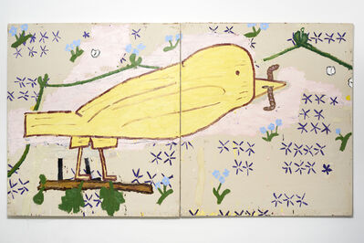 Rose Wylie, 'Yellow Bird (Woodcut)', 2015