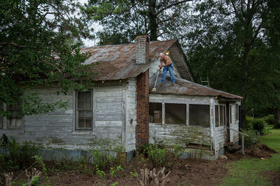 Jerry Siegel, 'Sweeping the Roof, Dallas County, AL', 2017