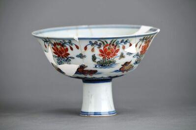 Unknown, 'Doucai stem bowl with mandarin ducks and lotus pond', Zhengtong to Tianshun, Ming Dynasty(1436, 1464)