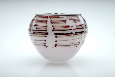 Dale Chihuly, ' Dale Chihuly 1979 White Tabac Basket with Brown Stripes Signed Contemporary Handblown Glass Art', 1979