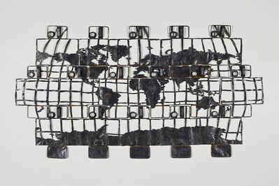 Cal Lane, '16 Oil Can Map of the World #2', 2011