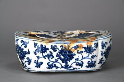 Unknown, 'Pillow with lotus sprays in blue and white', Zhengtong to Tianshun, Ming Dynasty(1436, 1464)
