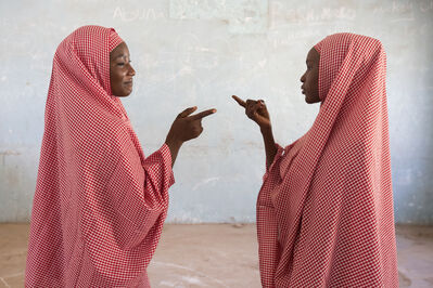 Rahima Gambo, 'Amina and Zainab playing a clapping game', 2017