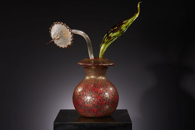 Dale Chihuly, 'Gilded Carmine Ikebana with Stem and Citron Leaf', 2018