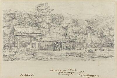 Charles Meryon, 'Greniers indigenes et habitations a Akaroa, presqu'Ile de Banks', 1860