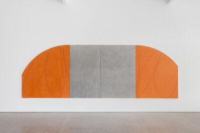 Robert Mangold (b.1937), 'Orange/Gray Four Panel Zone Painting', 1998