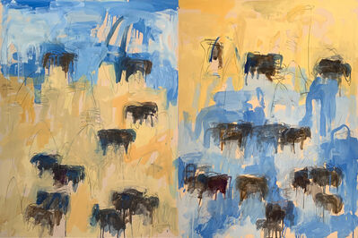 Theodore Waddell, 'Barber Angus Diptych #4', 1990