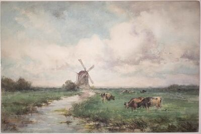 August de Wilde, 'Belgium Landscape with Windmill and Cows', ca. 1865