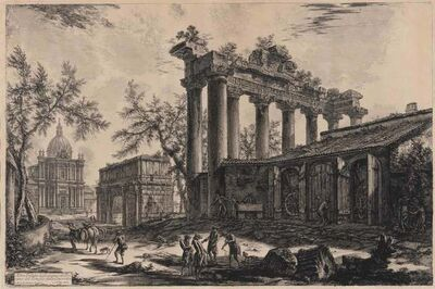 Giovanni Battista Piranesi, 'The Temple Of Saturn With The Arch Of Septimus Severus In The Background (Focillon 830; Hind 110; Wilton-Ely 286)', 1774