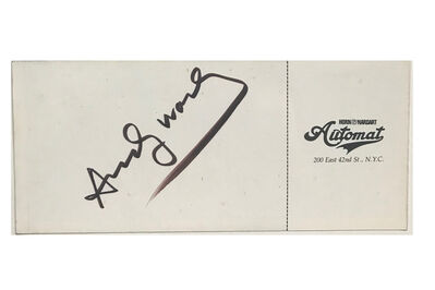 "Andy Warhol, '""You're Invited to a Party"", 1981, SIGNED, 2-Invitations / Tickets,  Fundraiser Lighthouse for the Blind, Horn & Hart Automat Restaurant NYC.', 1981"