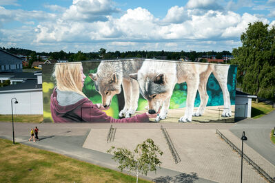"BK FOXX, '""Neighbors"" mural in Forshaga, Varmland, Sweden ', 2017"