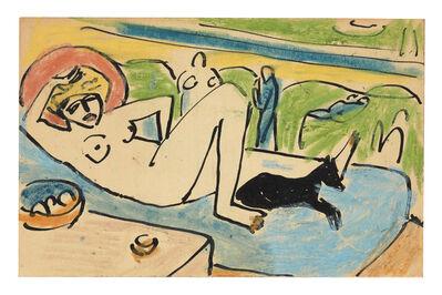 Erich Heckel, 'Liegender weiblicher Akt mit Hund', ca. 1911
