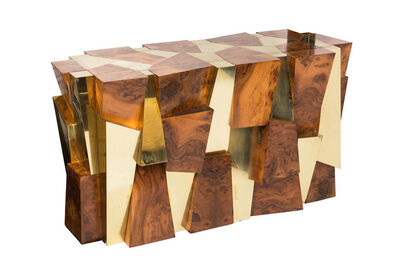 Paul Evans (1931-1987), 'Rare Cityscape Burlwood and Brass Console by Paul Evans for Directional', ca. 1970