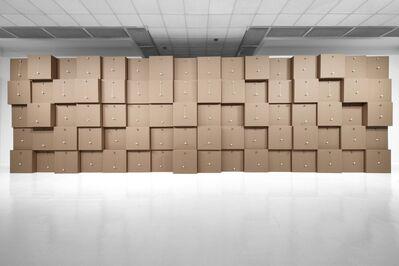 Zimoun, '80 prepared dc-motors, cotton balls, cardboard boxes 71x71x71cm', 2011