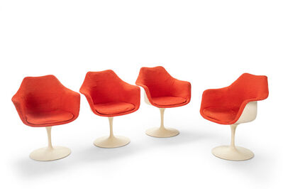 "Eero Saarinen, 'A set of four Eero Saarinen for Knoll ""Tulip"" swivel armchairs'"
