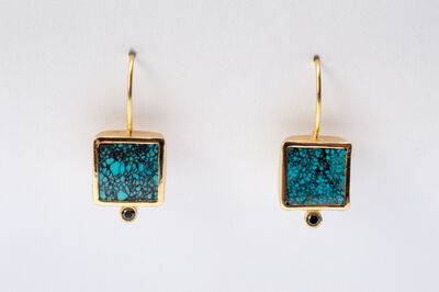 Maria Samora, 'Turquoise Earrings with Black Diamonds (Small)', 2018