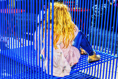 Mitchell Funk, 'Blond Girl in Blue Bars', 2019