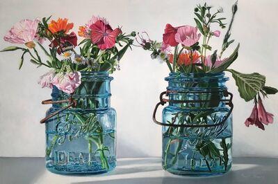 Peggie Blizard, 'Pink Flowers in Small Blue Jars'