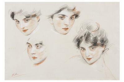 Paul César Helleu, 'Mademoiselle de Conquis, étude des têtes', ca. 1890