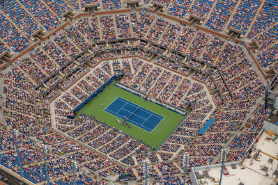 George Steinmetz, 'Sam Querrey is serving to Novak Djokovic in the third round of the men's singles at the 2014 US Open. ', 2014