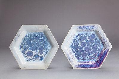 Brother Thomas Bezanson, 'Pair of Small Hexagonal Plates, Opal Copper Blues'