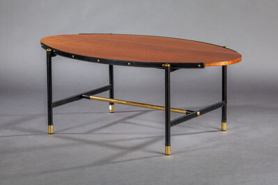 Jacques Adnet, 'An oval shaped mahogany veneer coffee table with legs covered in black leather', ca. 1958