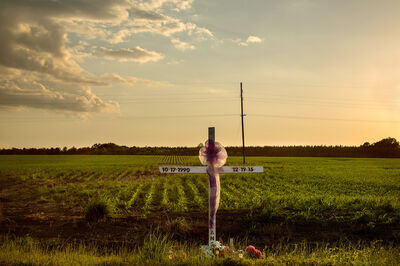 Jerry Siegel, 'Sunset, Roadside Memorial, Dallas County, AL', 2017