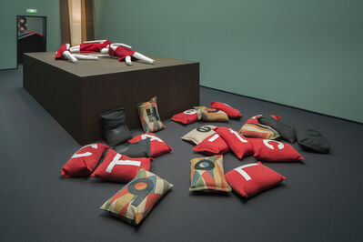 Kelly Nipper, 'Alphabet Sandbags (a cloCk GLuUEed TO tAble)', 2013