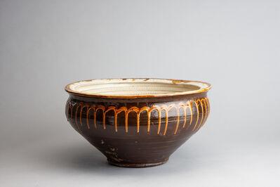 Onda Yaki, 'Water Lily Bowl with Tobikanna (Blade Skip) Design and Poured Amber Glaze', n/a