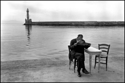 Constantine Manos, 'Man reading newspaper, Crete, Chania. A Greek Portfolio.', 1962
