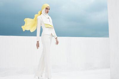 "Haslinda Rahim for Blancheur, '""Freedom on the Horizon"" ensemble (jacket, inner shirt, pants, hijab, and headscarf)', Spring/Summer 2017"