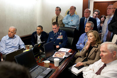 Pete Souza, 'Barack Obama and Joe Biden, along with members of the national security team, receive an update on Operation Neptune's Spear, a mission against Osama bin Laden (»Situation Room«)', 2011