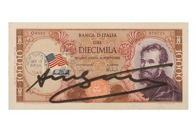 Andy Warhol, 'Signed Diecimilia Lire', 1980