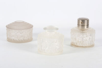 René Lalique, 'A crystal glass dressing table set in Enfants pattern', circa 1930s