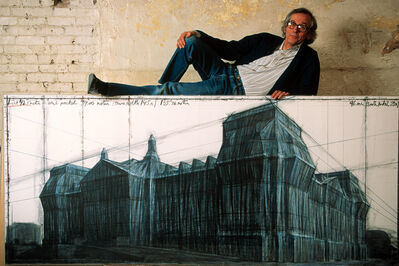 Thomas Hoepker, 'The artist Christo with a drawing for his Berlin Reichstag project in his Manhattan studio', 1993